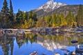 Картинка небо, деревья, горы, озеро, камни