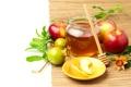 Картинка яблоки, мед, листики, гранат, веточки