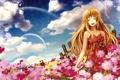 Картинка лето, небо, девушка, облака, цветы, улыбка, рендеринг