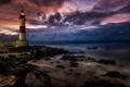 Картинка шторм, камни, океан, скалы, берег, маяк, Бразилия
