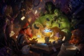 Картинка стол, игра, деньги, арт, панда, World of Warcraft, гном