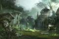 Картинка деревья, заросли, арт, руины, Core Online