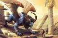 Картинка песок, оружие, ветер, пустыня, человек, крылья, монстр