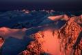 Картинка снег, пейзаж, горы, рассвет