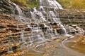 Картинка осень, лес, скала, водопад, каскад