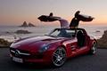 Картинка бардовый, mercedes, benz SLS AMG