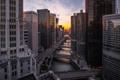 Картинка закат, река, здания, небоскребы, вечер, Чикаго, Chicago