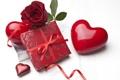 Картинка роза, цветок, красная, коробочка, сердце, подарок
