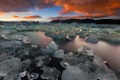 Картинка лед, зима, закат, озеро