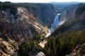 Картинка горы, водопад, панорама, ущелье, США, леса, Йеллоустон