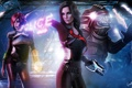 Картинка оружие, значок, полиция, костюм, Mass Effect, Шепард, фанарт
