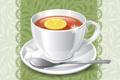 Картинка фон, лимон, чай, ложка, чашка, блюдце