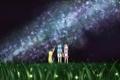 Картинка трава, светлячки, девочки, звёзды, луг, млечный путь, телескоп