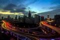 Картинка ночь, город, shanghai