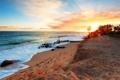 Картинка море, пейзаж, закат, берег, beach, sea, sunset