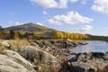 Картинка камни, осень, скалы, деревья, холмы, озеро