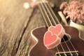 Картинка romantic, heart, love, сердце, гитара, цветы, vintage