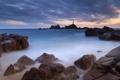 Картинка закат, камни, скалы, маяк, Море