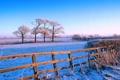 Картинка зима, иней, поле, небо, снег, деревья, забор
