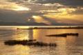 Картинка закат, горы, лодка, озеро, золотой