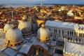Картинка море, дома, Италия, панорама, Венеция, купол, собор Святого Марка