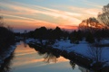 Картинка снег, отражение, река, Закат