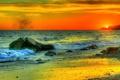 Картинка закат, камни, небо, облака, зарево, море
