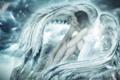 Картинка небо, девушка, тучи, фантастика, крылья, ангел, перья