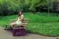 Картинка девушка, парк, чемодан, скамья