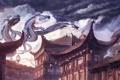 Картинка змеи, крыши, арт, фонари, полёт