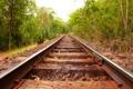 Картинка камни, рельсы, ограждение, железная дорога, зелень, вдаль, деревья
