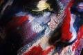 Картинка лицо, трещины, краска