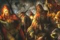 Картинка деревья, люди, монстры, капюшон, маски, ворон, трупы