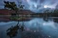 Картинка небо, горы, озеро, дерево, остров, вечер