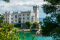 Картинка замок, Италия, побережье, Miramare Castle, море