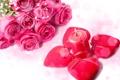Картинка цветы, розы, свеча, букет, сердца, красные, розовые