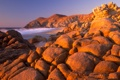 Картинка море, небо, закат, камни, Мексика
