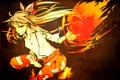 Картинка девушка, огонь, магия, арт, бант, touhou, fujiwara no mokou
