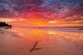 Картинка облака, горизонт, небо, восход, волны, море, пляж