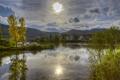 Картинка лес, река, Германия, горы, городок, Ulmen, тучи