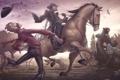 Картинка лошадь, мужик, медведь, Red Dead Redemption, John Marston, Джон Марстон