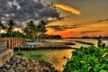 Картинка закат, мост, пальмы, Флорида, Florida, Jupiter, Dubois Park
