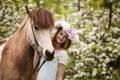 Картинка весна, девушка, конь, настроение