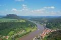 Картинка небо, город, река, гора, Германия, Эльба, Кенигштайн