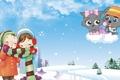 Картинка зима, снег, детство, арт, неко, друзья