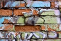 Картинка green, Orange, black, blue, letters, broken bricks, painted wall