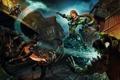 Картинка девушка, ночь, город, оружие, арт, World of Warcraft, битва