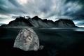 Картинка облака, горы, озеро, камень
