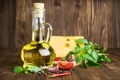 Картинка зелень, масло, сыр, перец, помидоры, чеснок