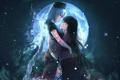 Картинка луна, арт, длинные волосы, Touhou